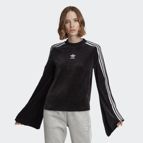 adidas Originals - Flared Sleeve Velour Sweatshirt