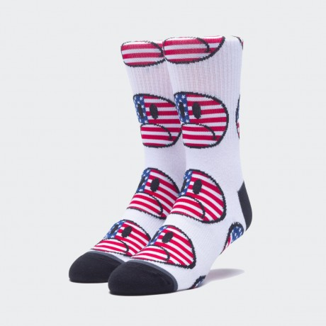 HUF - BUMMER USA SOCK WHITE