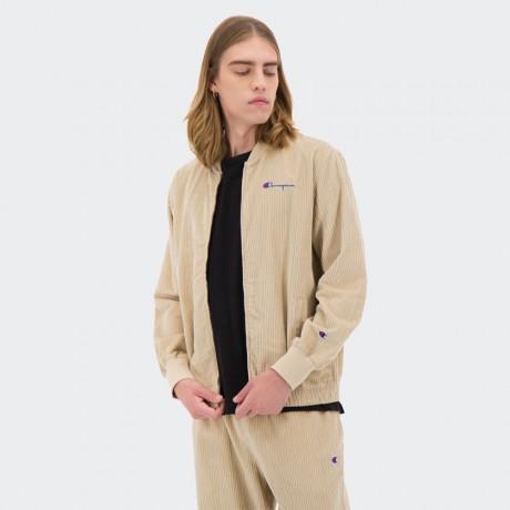 Champion - Reverse Weave Corduroy Script Logo Bomber Sweat Jacket Beige