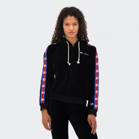 Champion - Reverse Weave Corduroy Logo Tape Zip-Up Hooded Sweatshirt Black
