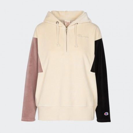 Champion - Reverse Weave Velvet Hooded Half Zip Sweatshirt