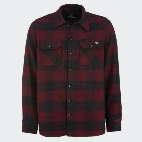 Dickies - Sacramento Long Sleeve Flannel Shirt Maroon