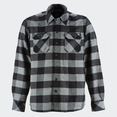 Dickies - Sacramento Long Sleeve Flannel Shirt Grey Melange