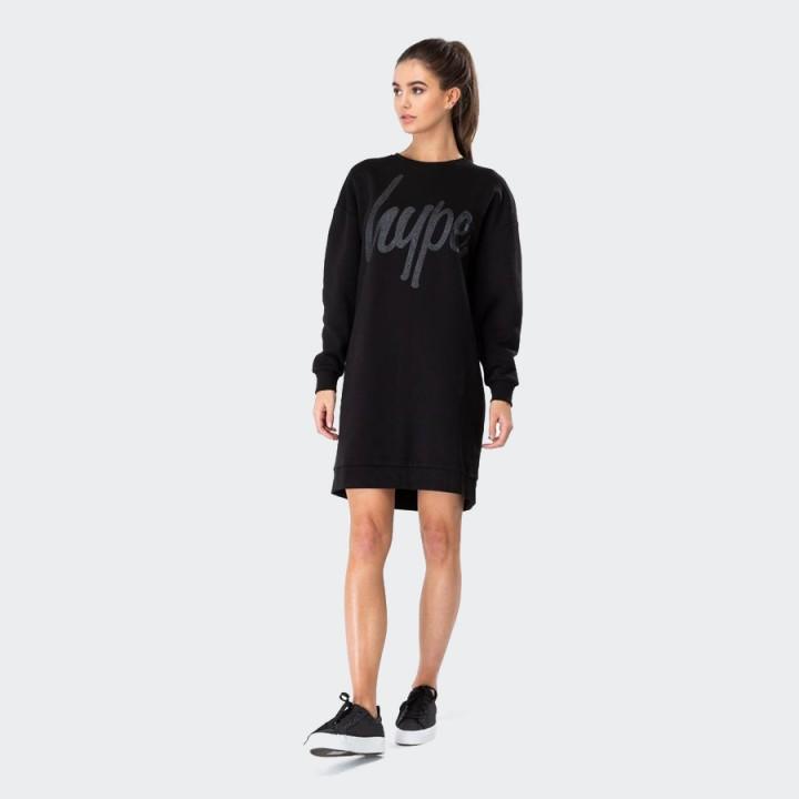 Just Hype - GLITTER SCRIPT WOMEN'S CREW SWEAT DRESS