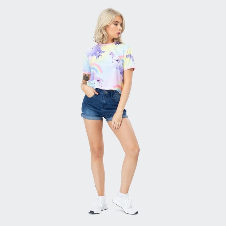 Just Hype - RAINBOW UNICORN WOMEN'S CROP T-SHIRT