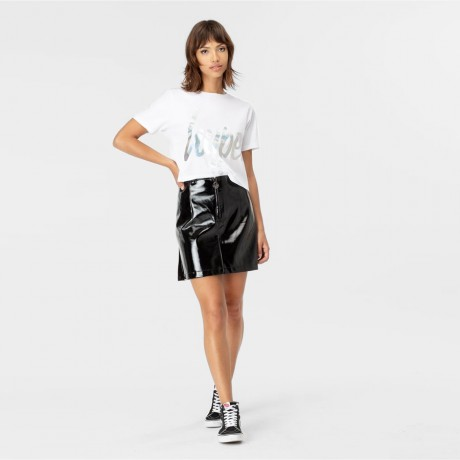 Just Hype - WHITE IRIDESCENT SCRIPT WOMEN'S CROP T-SHIRT
