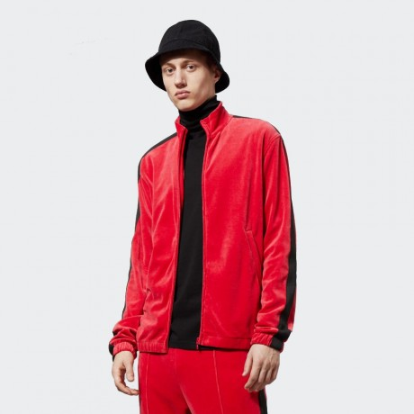 Weekday - Track Velour Sweatshirt Red
