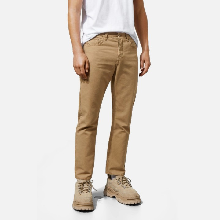 Weekday - Vacant Cropped Canvas Trousers Beige