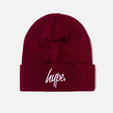Just Hype - BURGUNDY SCRIPT BEANIE