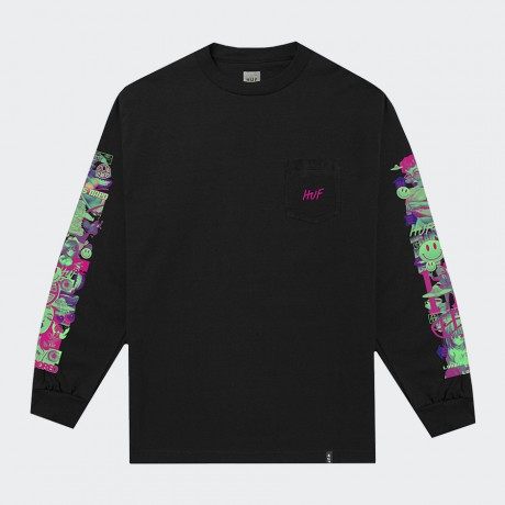 HUF - SHORT TERM LONG SLEEVE POCKET T-SHIRT BLACK