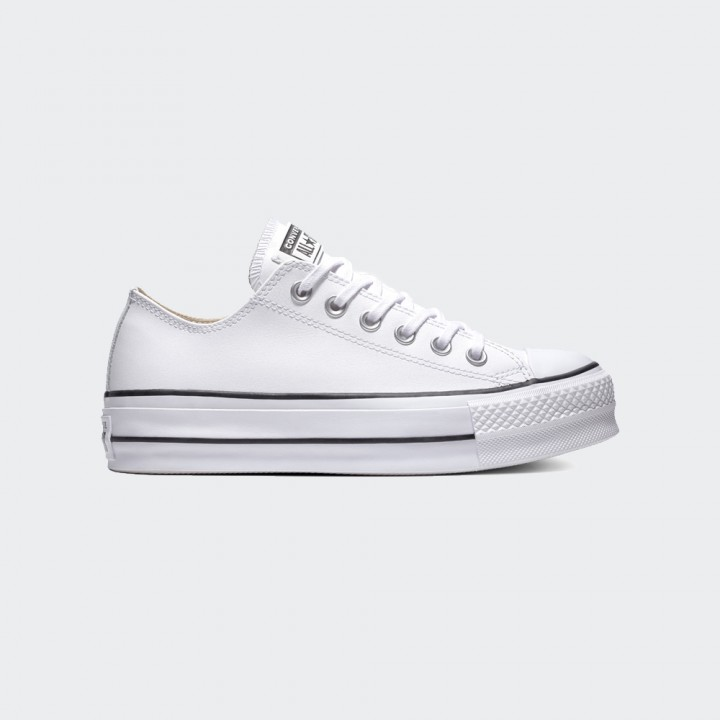 Converse - Chuck Taylor All Star Platform Clean Leather Low-Top White