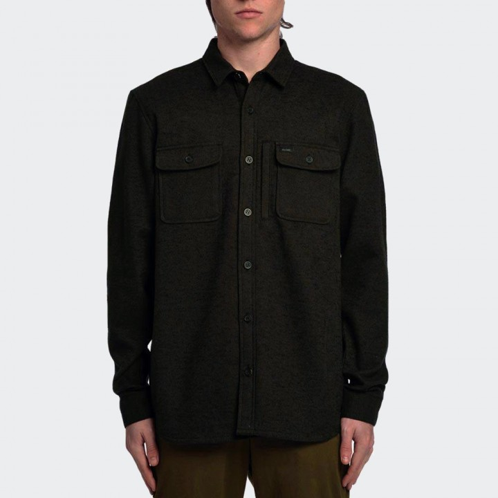 GLOBE - Clifton Solid LS Shirt Field Green