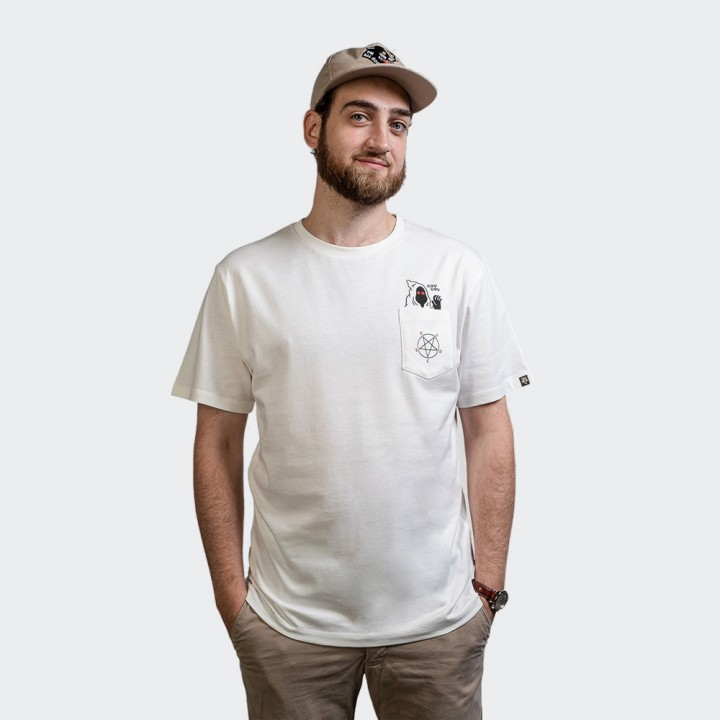 The Dudes - Pentagram Premium Pocket Tee Off White